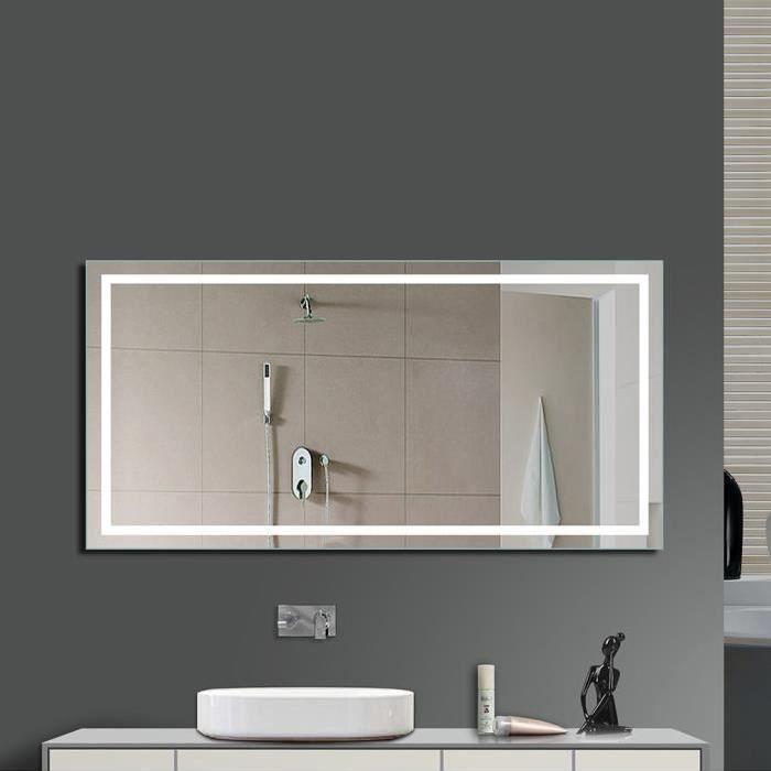 Miroir LED Lampe de Miroir Éclairage Salle de Bain Miroir Lumineux Verre Trempé Design Carré