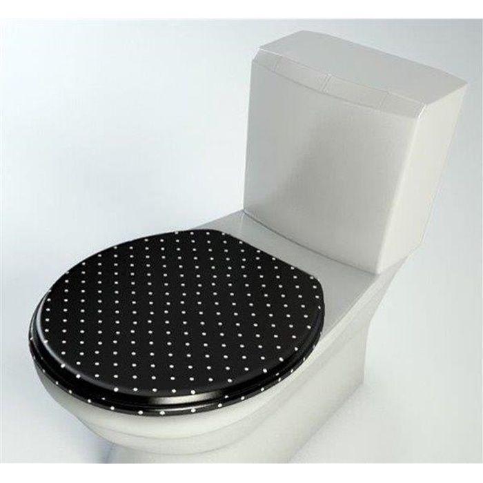 Abattant WC en bois compresse MDF Cuvette Double frein chute ralentisseur et Charnière metal