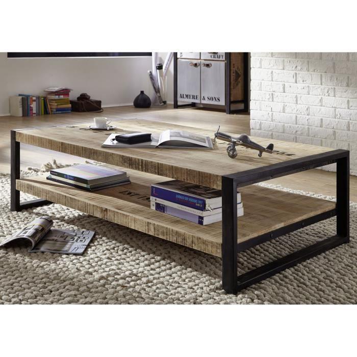 Table basse industrielle 140x80cm - Bois massif de manguier brut - Fer et bois imprimé - FACTORY #126