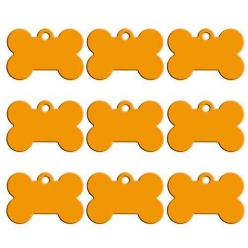 Pendentif d'identification,Étiquettes personnalisées pour chiens 100 pièces Vente en gros, os en Aluminium- Type Jaune-31X21X1MM