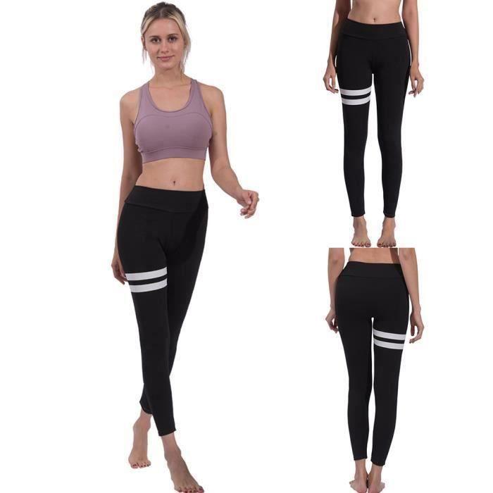 Simple Sport Rayé Femmes Push Up Leggings Pantalon De Yoga De Taille Haute Collants Minces Noir M G06223