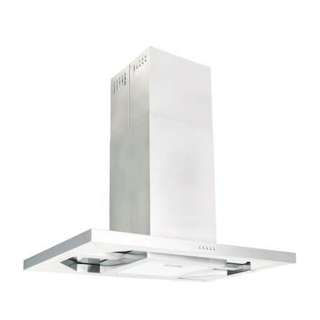 Weiraishop® Hotte ilot - Recyclage - 756m3-h - Silencieux - 3 vitesses - L90 cm - Inox