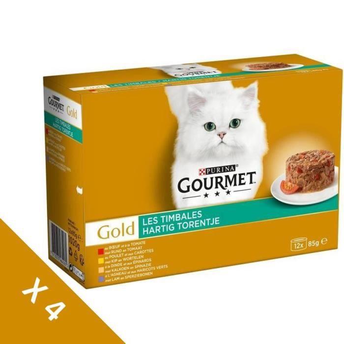 [Lot de 4 / 12 x 85g] GOURMET Gold Timbales Multi variétés légumes - Chat adulte - 4 boîtes de 12 x 85g