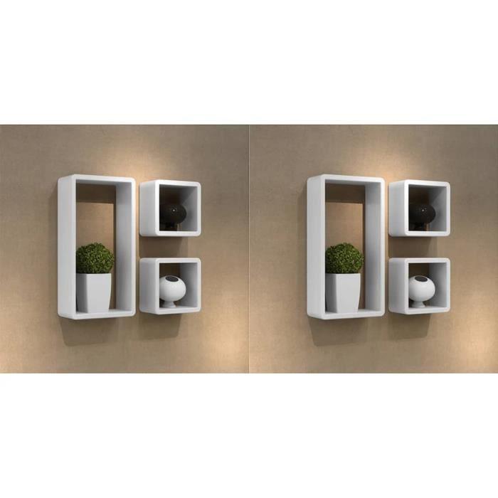 DEX® Étagères murales sous forme de cube 6 pcs Blanc avec finition laquée