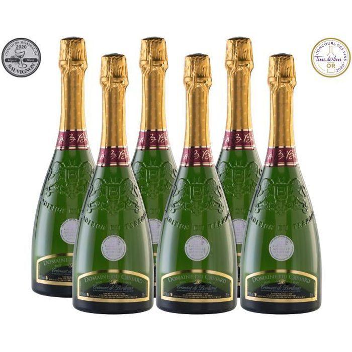 Lot de 6 bouteilles Crémant de Bordeaux Blanc Brut Domaine du Cassard- Médaille d'or au concours Terre de Vin