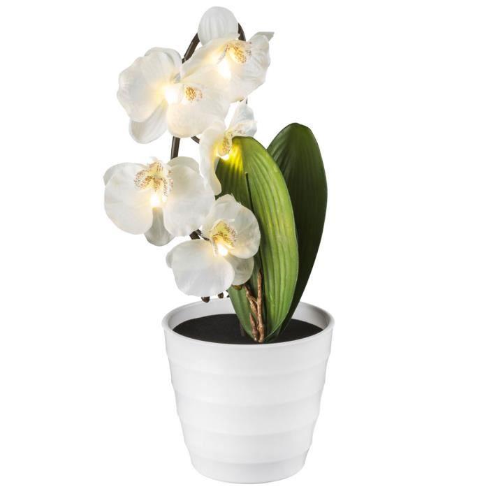 Lampe à poser LED, orchidée en pot de fleurs, H 50 cm, ORPHELIA