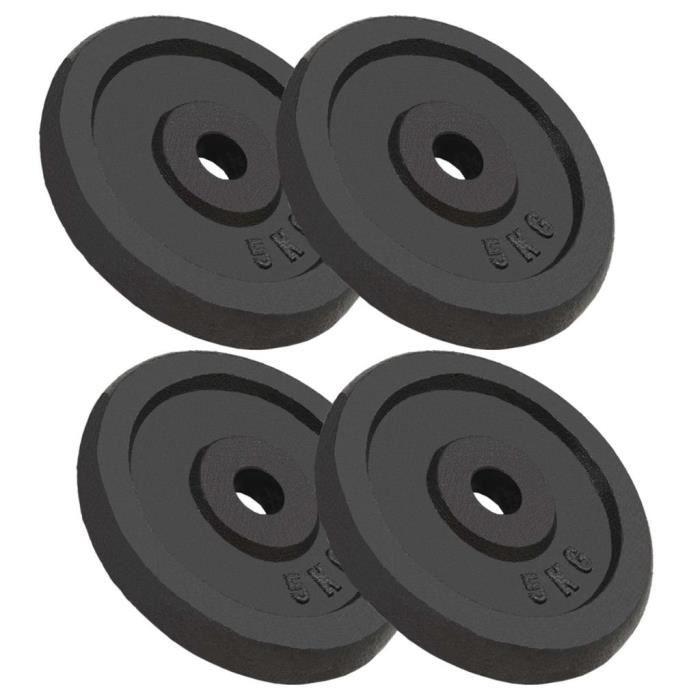Festnight 4 pcs Plaque de Poids Disques Haltères en Fonte 20 kg pour Musculation