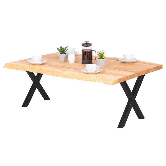 LAMO MANUFAKTUR Table basse en bois - salon - bord naturel - 120x80x47cm - frêne naturel - pieds métal noir - modèle design