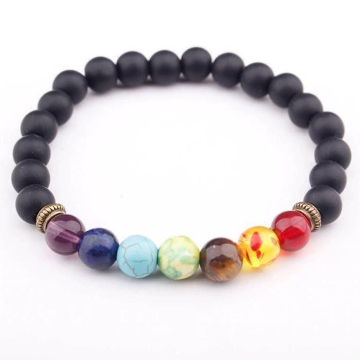 Bracelet de Guérison des 7 Chakras - Multicolore et Pierres Noires