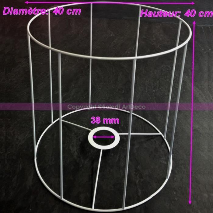 Grande Armature Ronde blanche pour Abat-jour, Hauteur et Diam. 40 cm, Diam. Douille 38mm - Unique