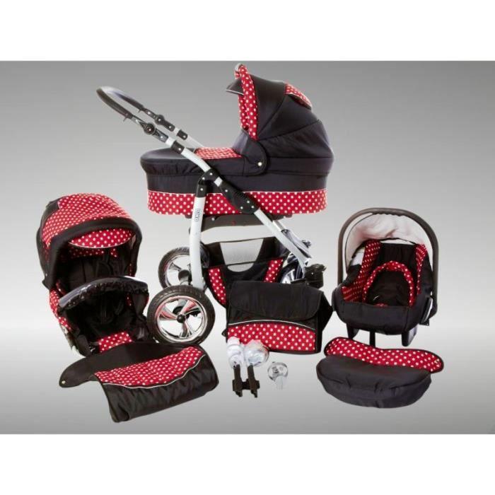 Dino Poussette Trio Nacelle Poussette Canne Siège auto Parasol Accessoires 34 noir & rouge & points
