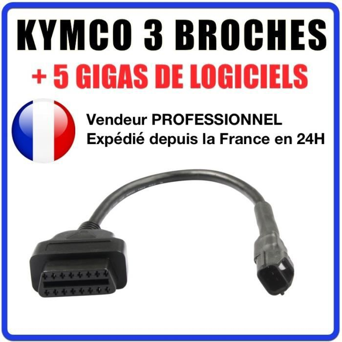 Kymco 3 broches vers OBDII - Compatible Outil Diagnostic Motos