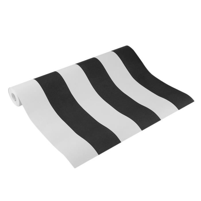 Papier peint - rayure noir et blanc- 10M*52CM chambre salon mur rouleaux belle décoration de la maison