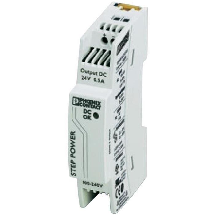 Bloc d'alimentation à découpage pour rails DIN 24 V/DC / 0,5 A / 18 W Phoenix Contact STEP-PS/1AC/24DC/0.5