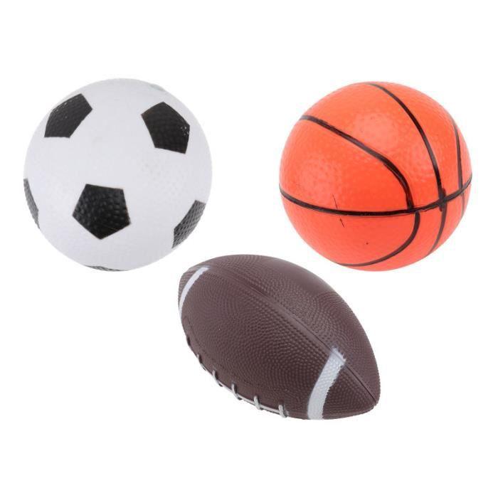 3pcs Mini Ballons Mous de de Rugby de Football de de Basket-Ball Pour Des Enfants Faveurs volant de badminton badminton