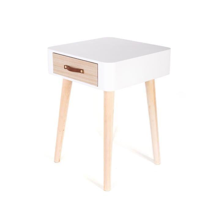 Table de chevet vintage Lilia - L. 35 x H. 48 cm - Blanc