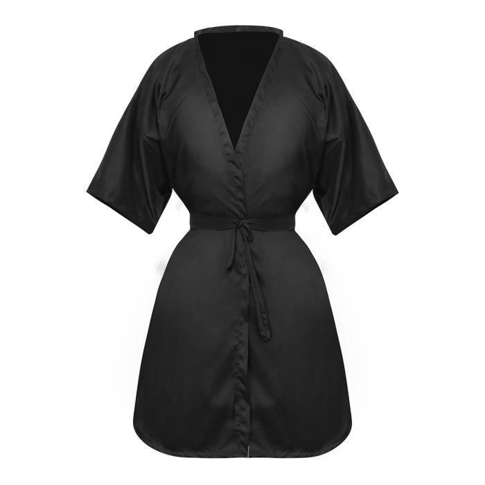 cape de coupe des cheveux blouse de salon style Kimono (Noir)