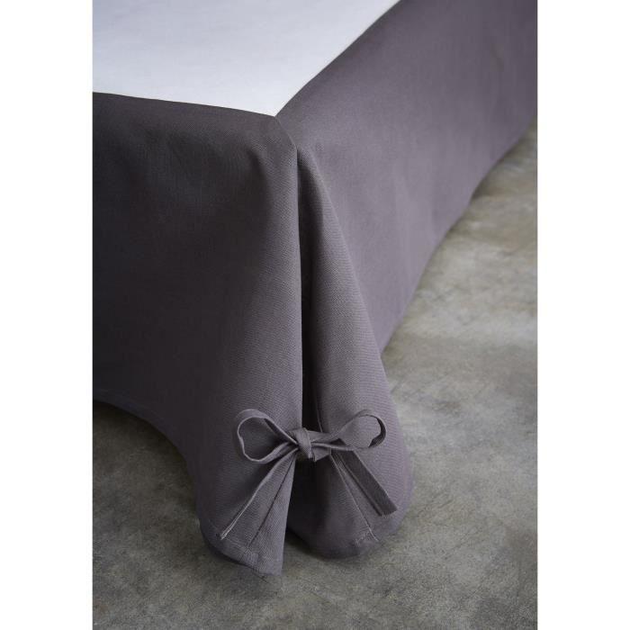 Cache sommier avec nouettes - 160 x 200 cm - Gris foncé