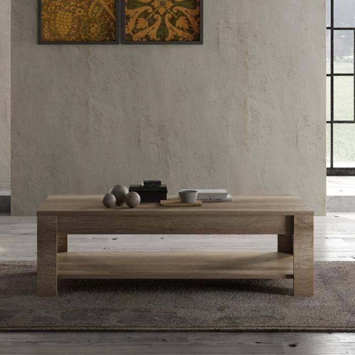 Table basse double plateau Chêne moyen - VERONE - L 140 x l 68 x H 45