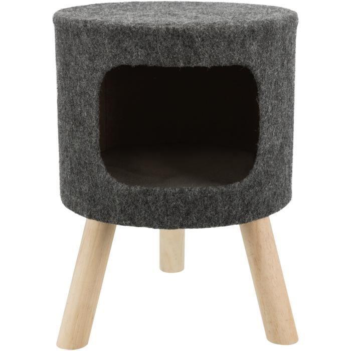 TRIXIE Abri douillet Senta - Feutre - ø 38 × 50 cm - Anthracite - Pour chat