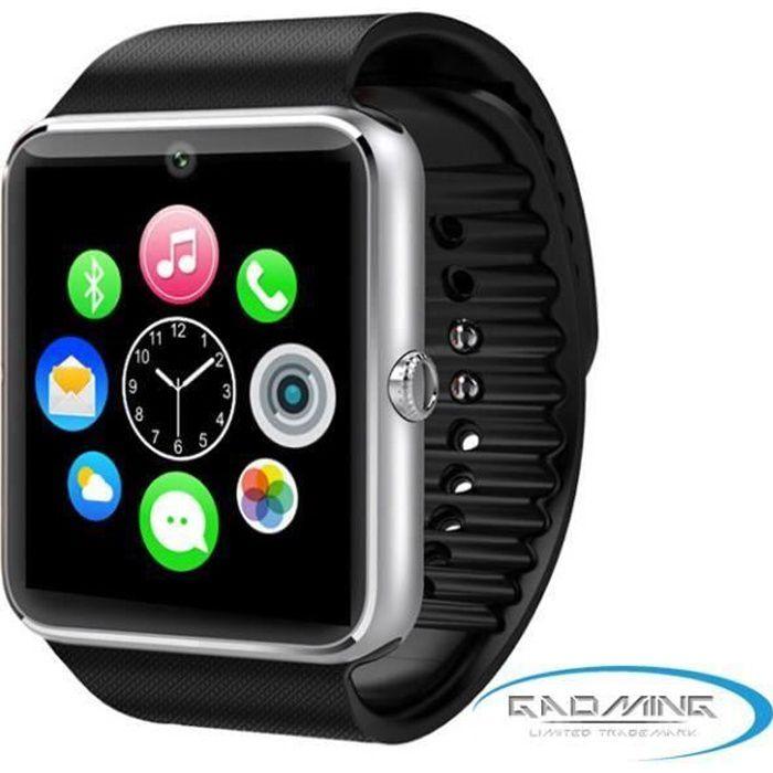 Montre connectée GT08 haut de gamme noire pour Apple iPhone 6s Plus