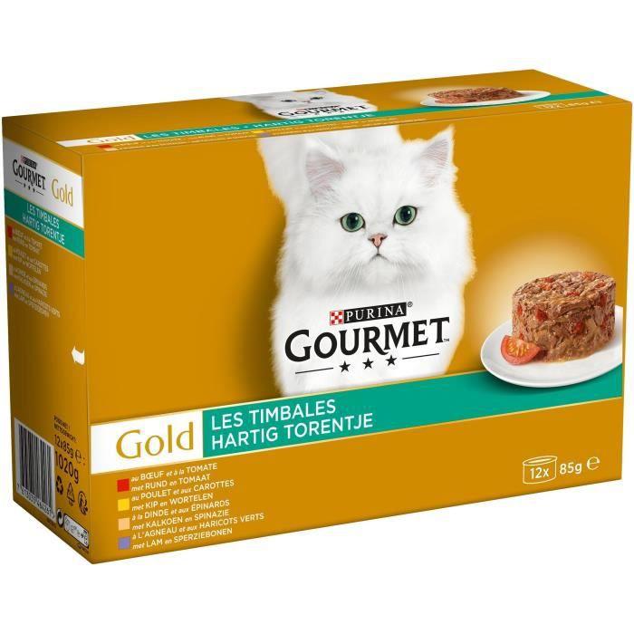 GOURMET Gold Les timbales - Multi variétés aux légumes - Boîtes - Pour chat adulte - 12 x 85 g