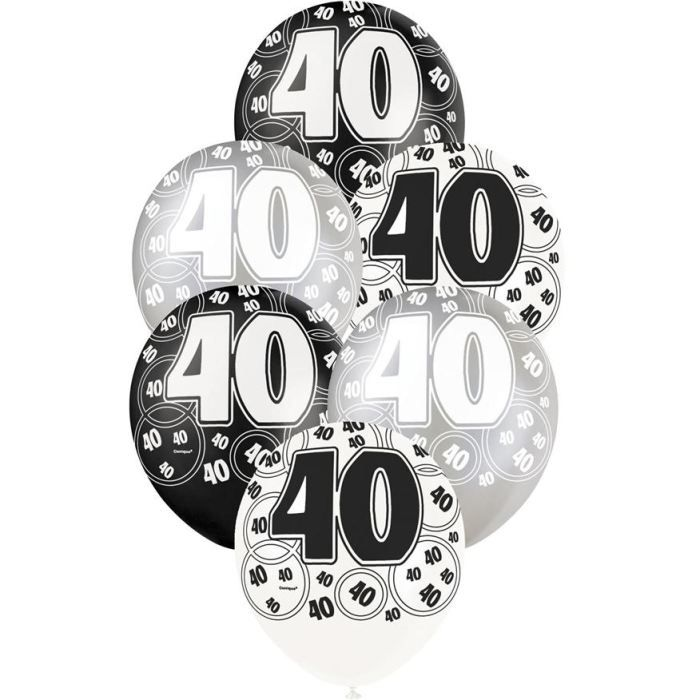 6 ballons anniversaire 40 ans achat vente ballon d coratif cdiscount. Black Bedroom Furniture Sets. Home Design Ideas