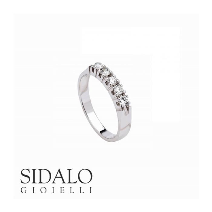 Sidalo - SIDALO BAGUE en OR blanc 18 kt 5 BRILLANTE M1278-019