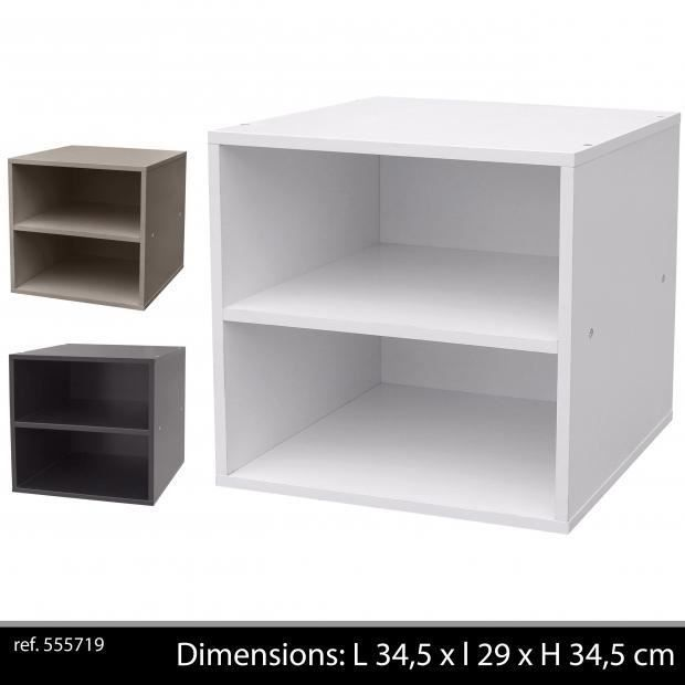 Cube 2 niches gris colonne cases 2 tag res blanc for Meuble 2 cases
