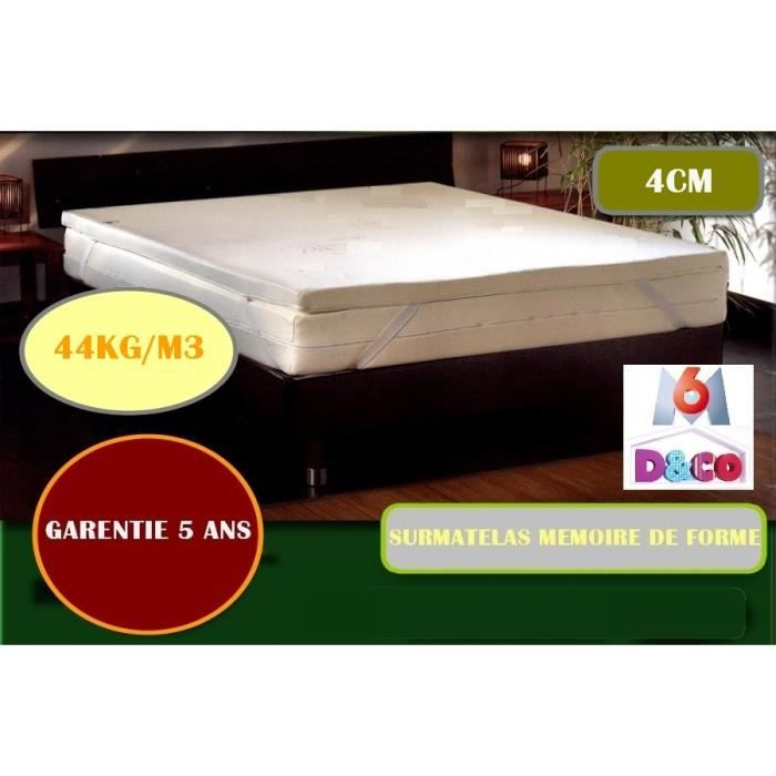surmatelas m moire de forme 160x200 visco 4 cm garantie 5 ans achat vente sur matelas. Black Bedroom Furniture Sets. Home Design Ideas