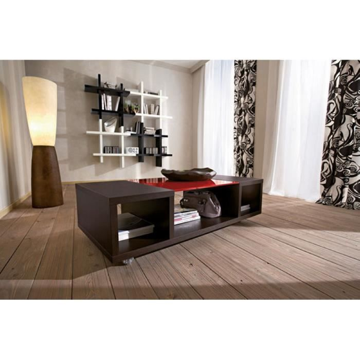 table basse sur roulette marron rouge greg meuble house achat vente table basse table. Black Bedroom Furniture Sets. Home Design Ideas