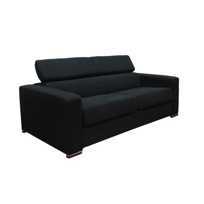 canap convertible tissu noir maeva achat vente canap sofa divan bois polyur thane. Black Bedroom Furniture Sets. Home Design Ideas