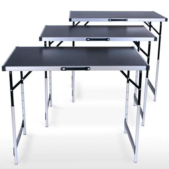 Lot de 3 tables pliantes r glables achat vente table d for Table a carte pliante