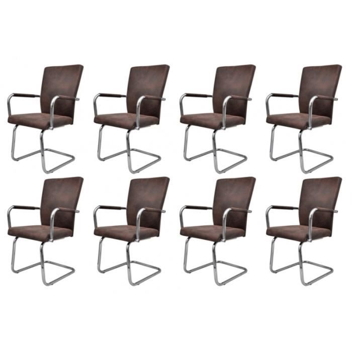 8 chaises de salle manger marron 1902323 achat vente. Black Bedroom Furniture Sets. Home Design Ideas