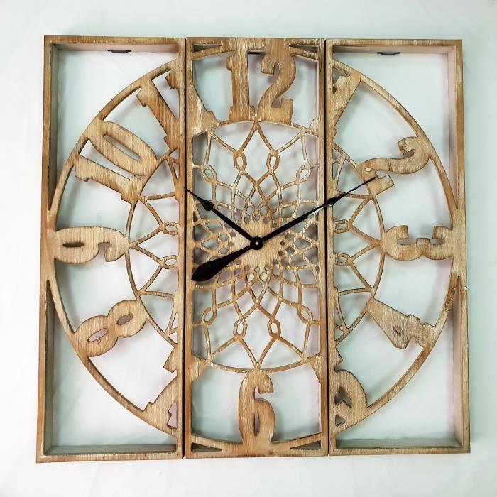 POT POURRI DynaSun Art 3Wood 90 x 90 x 6 cm Horloge Murale en