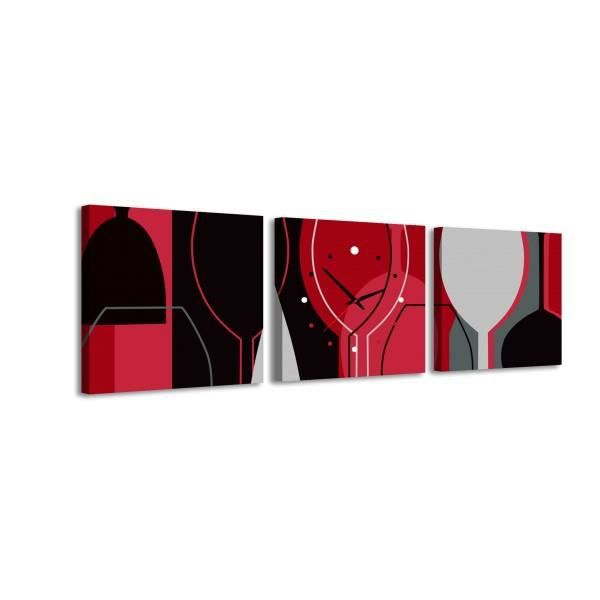 105x35 cm tableau horloge verre de vin achat vente tableau toile cdiscount. Black Bedroom Furniture Sets. Home Design Ideas