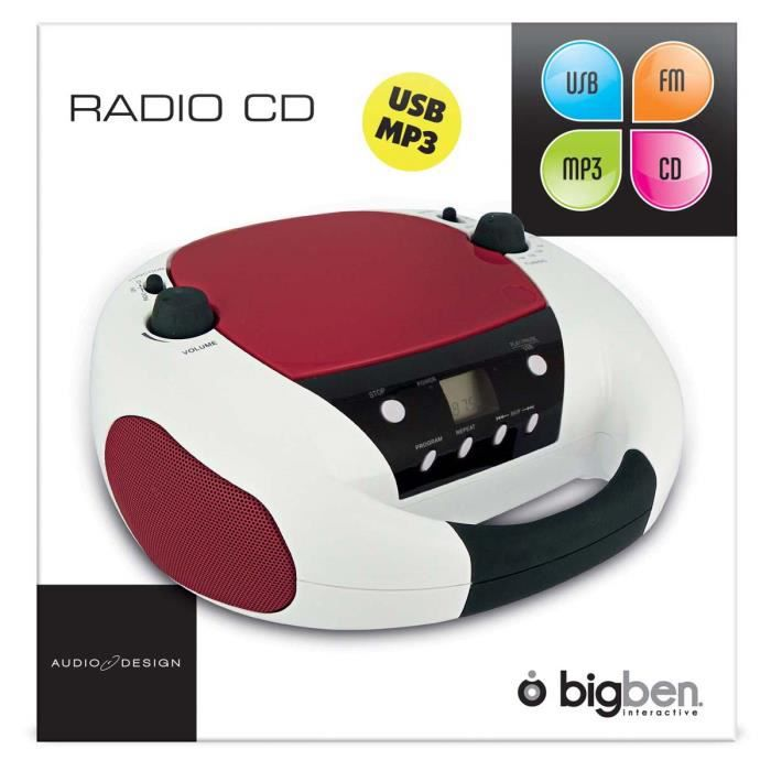 lecteur cd radio portable mp3 usb rouge et blanc radio. Black Bedroom Furniture Sets. Home Design Ideas