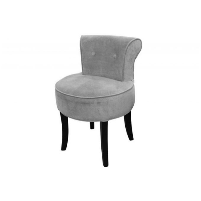 petit fauteuil boudoir velours gris achat vente fauteuil gris cdiscount. Black Bedroom Furniture Sets. Home Design Ideas