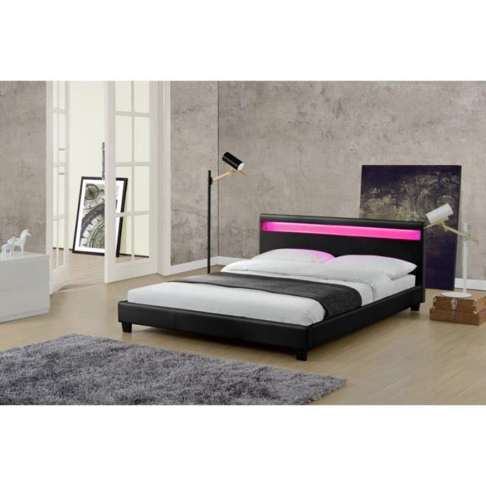 STRUCTURE DE LIT Cadre de lit BOSTON en PU Noir 160 x 200 cm avec L