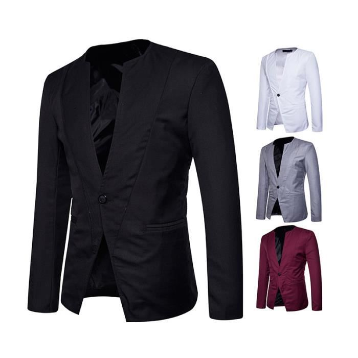 2018 costume veste homme mariage col rond blazer un bouton slim fit pour f te noir noir noir. Black Bedroom Furniture Sets. Home Design Ideas