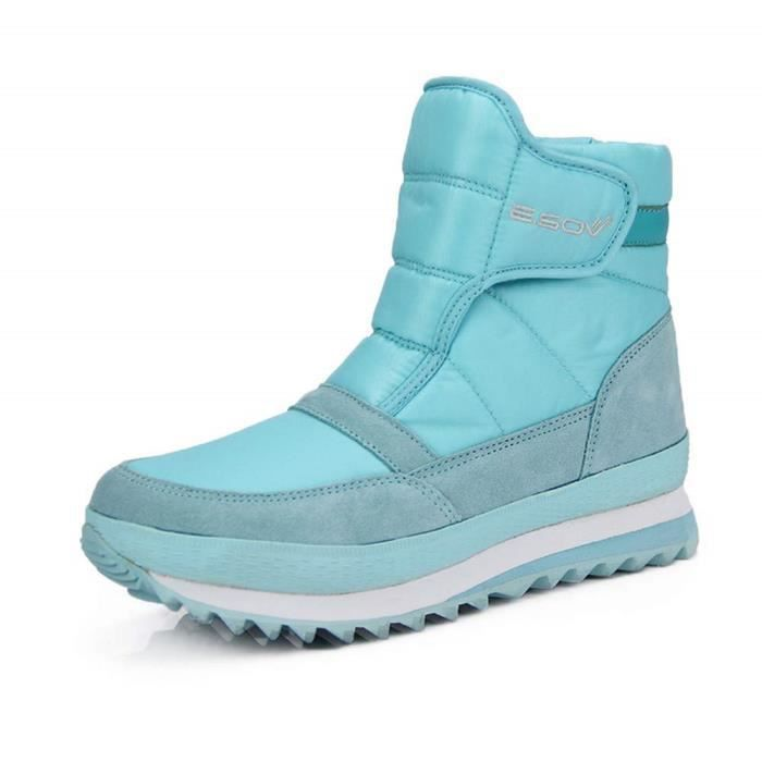Femmes Hommes Hiver Chaussures Bottes De Neige Fourrure Doublé Adhérence Chaud Bottines imperméable