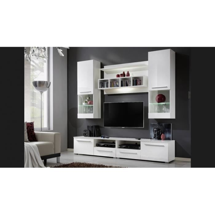 ensemble meuble tv miami i blanc laqu achat vente meuble tv ensemble meuble tv miami i. Black Bedroom Furniture Sets. Home Design Ideas