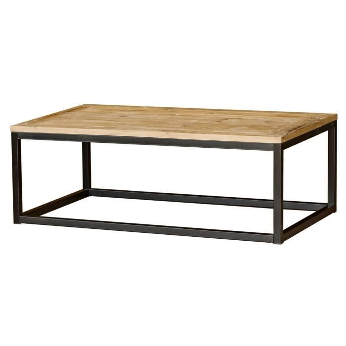 Table basse bois et m tal pin naturel masao achat for Table basse en bois naturel