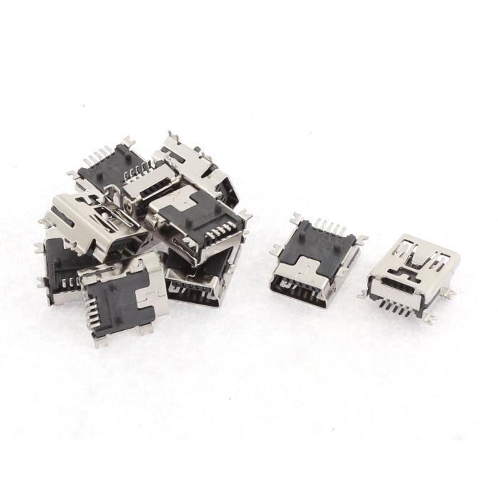 5 pi/èces Prise Femelle Micro USB 180 degr/és 5 Broches Connecteur Jack /à souder