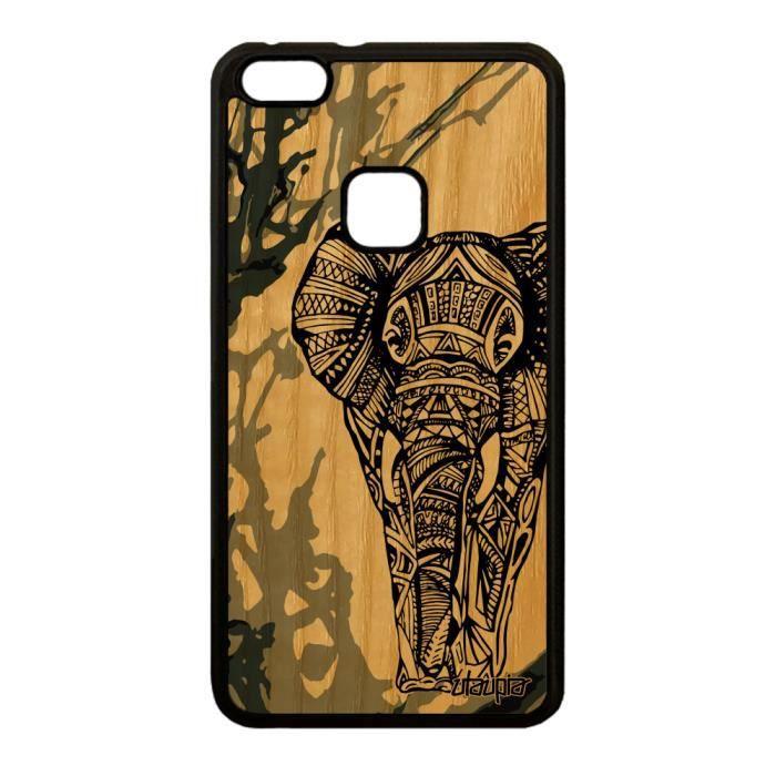 Coque elephant Huawei P10 Lite bois silicone peint