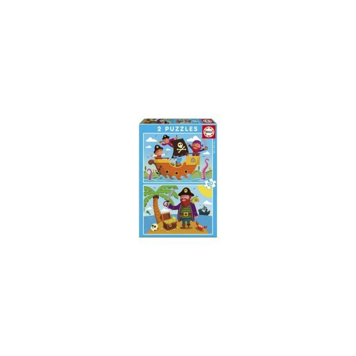 1 PUZZLE ENFANT 48 PIECES PRINCESSE PIRATE ANIMAUX 36.5 X 26.4 CM JOUET