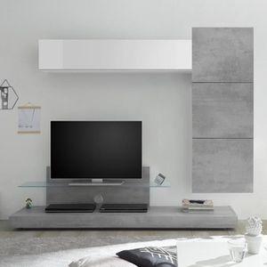 MEUBLE TV Ensemble meuble tele gris béton et blanc laqué CER