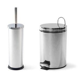 POUBELLE - CORBEILLE Ensemble poubelle à pédale et brosse de WC avec su