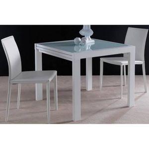 TABLE À MANGER SEULE Table repas extensible SPACE en verre design blanc