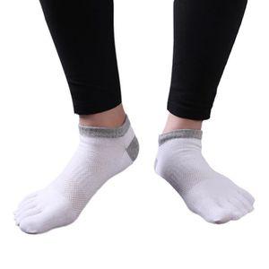 Respirant épais Sports en pur coton Five Finger Toe Chaussettes Hommes Rayures